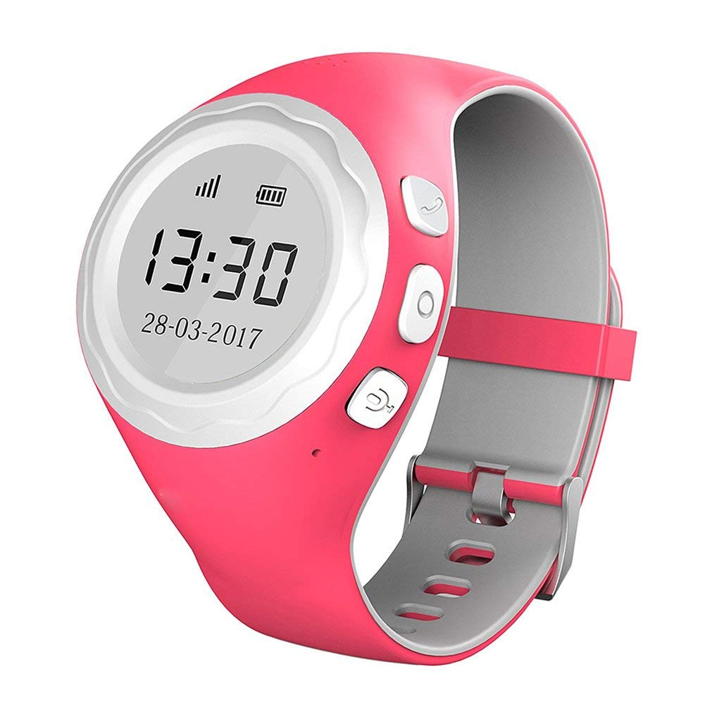Children GPS Tracker Watch, G2 Smart Positioning Watch Children GPS Anti-lost SOS Remote Monitor Mobile Phone Alarm Mini Child Bracelet for Children Safety, Bluetooth Phone Call Watch (pink)