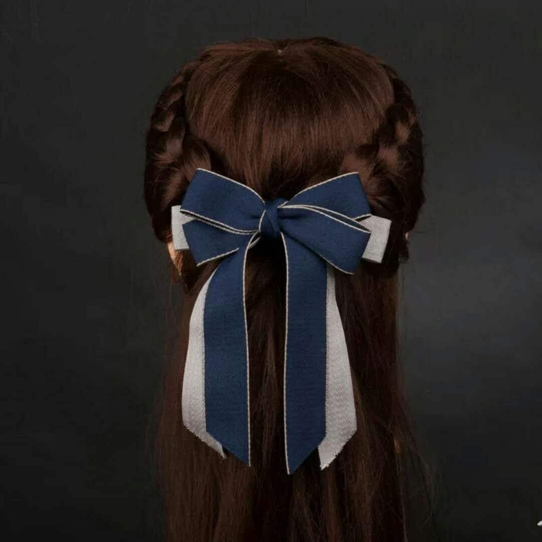 Korea Head Flower Jewelry Lady Long Streamers Hair Accessories Big Bow Hairpin Women Girls Headdress Cloth Personalized Gift Woman (Spring Clip