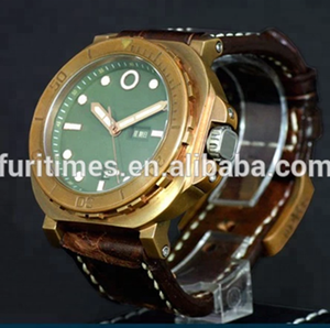 Luxury branded men's watch with dome glass,Diver Bronze watch with super luminous