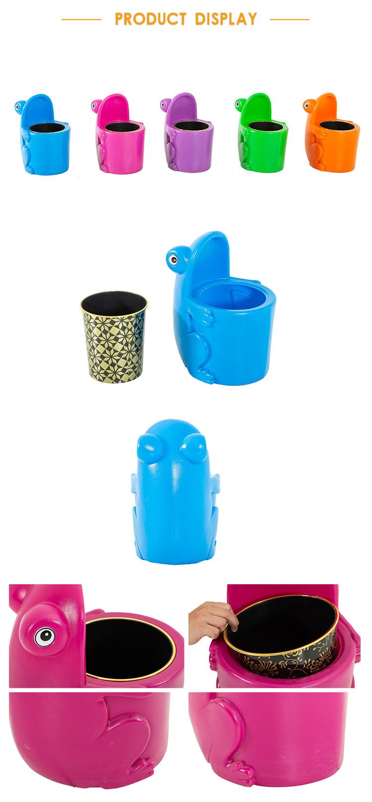 Ontwerp Kinderen Indoor Plastic Speelgoed Cartoon Dier Kikker Mini Vuilnisbakken