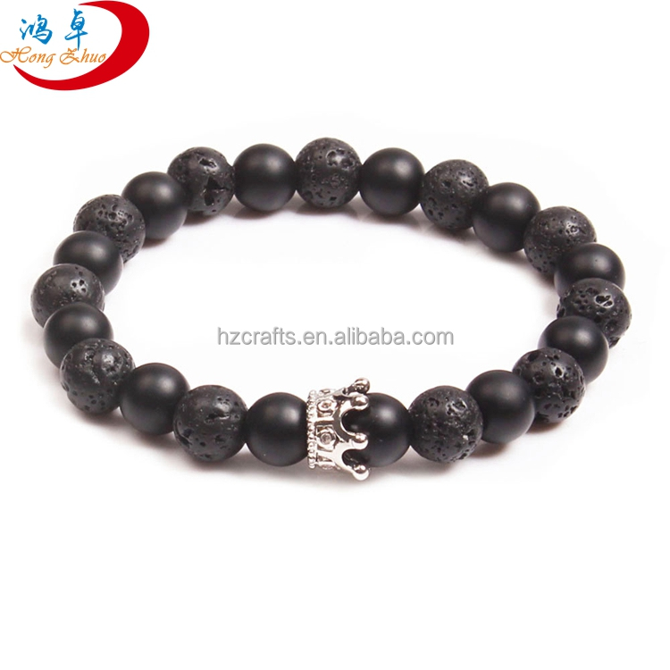 Crown bead natural beaded health volcanic stone bracelet
