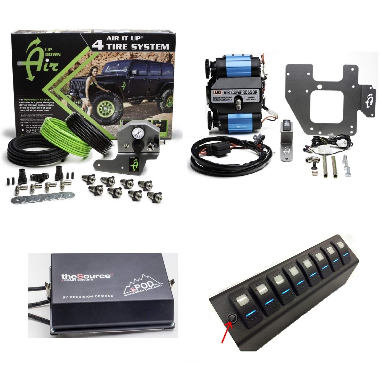 Up Down Air 22-7810/69-0717 Air It Up 4 Tire On Board Air Delivery w/ARB CKMTA12 Compressor & sPOD 8-600-07-LED-G All Green 8 Circuit SE System for 07-08 Wrangler JK