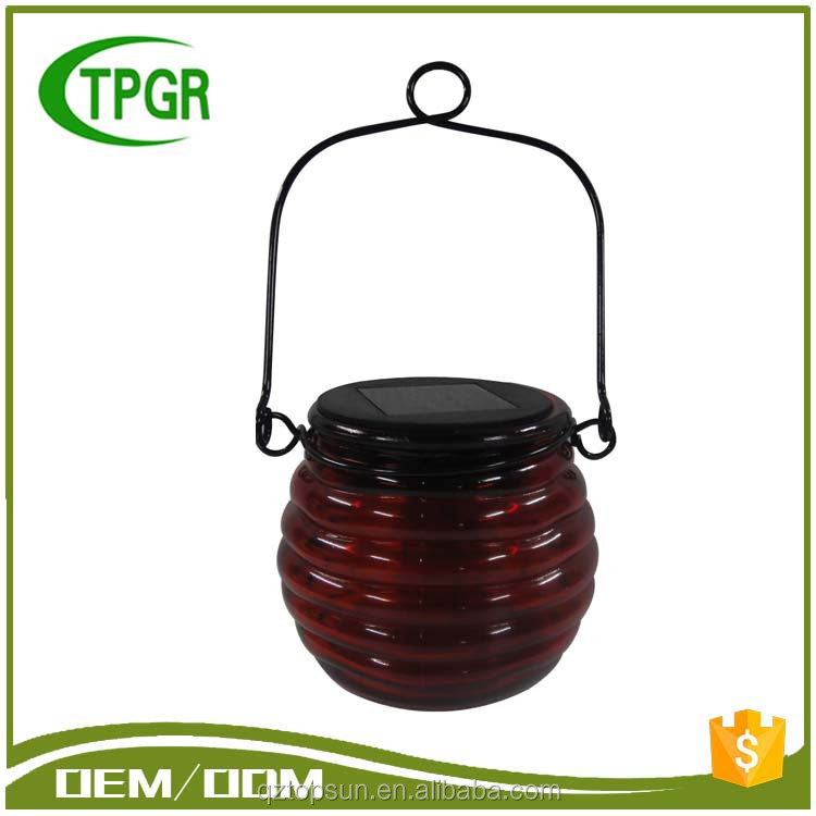 New Premium Wholesale Craft Wedding Decoration Red Glass Led Solar Lamp Garden Light