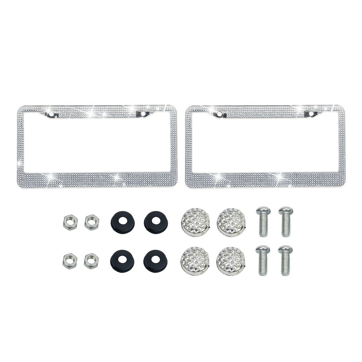 Luxury Pure Handcrafted Bling Rhinestone Premium Stainless Steel License Plate Frame for Cars with Anti-Theft Screws Caps Set Bling License Plate Frames 2 PACK