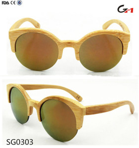 half rim frame bamboo sun glasses eyewear eye wear for summer sun with custom logo