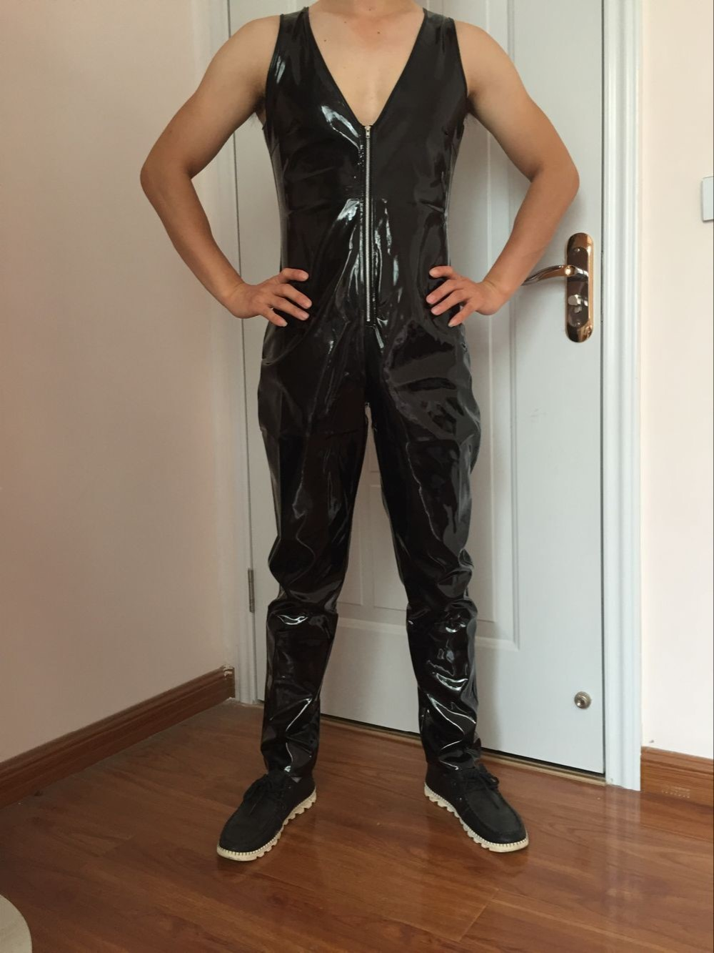 New design sleeveless romper mens leather PU bodysuit