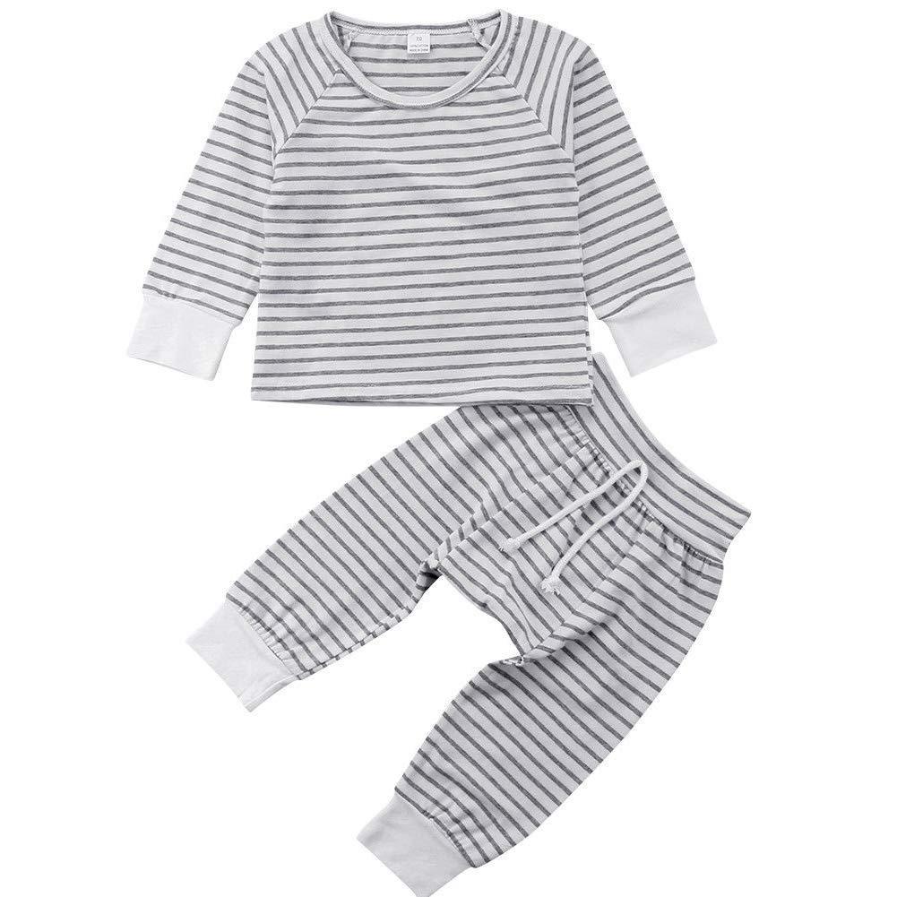 Infant Baby Boy Girls Long Sleeve Striped T-Shirt Top Pant Clothing Set Pajamas