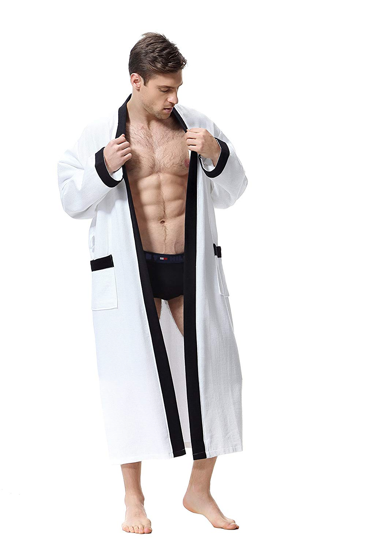 OUFANG Men s Robe - White Black Kimono Waffle Spa Bathrobe afe240802