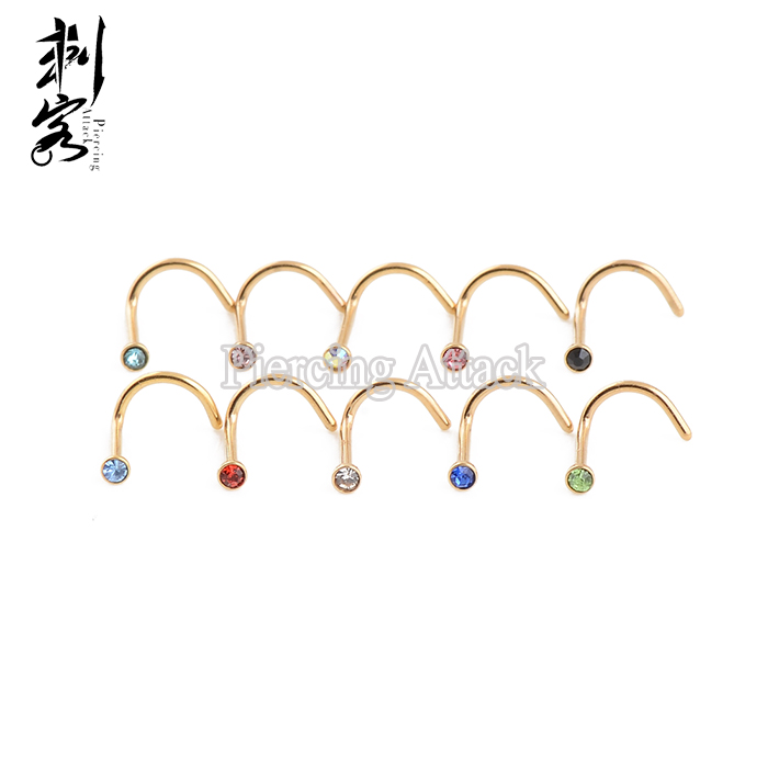 Gold Titanium Anodized Jeweled Nose Ring Indian Nose Stud Buy