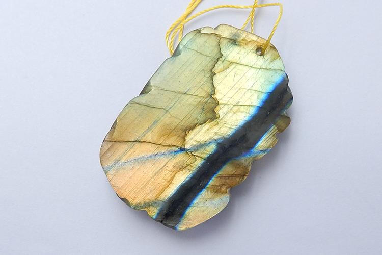 Butterfly Labradorite Carved Amazing Animal Carving Large Flashy Golden Yellow Portion 44x28x9mm 18.1g
