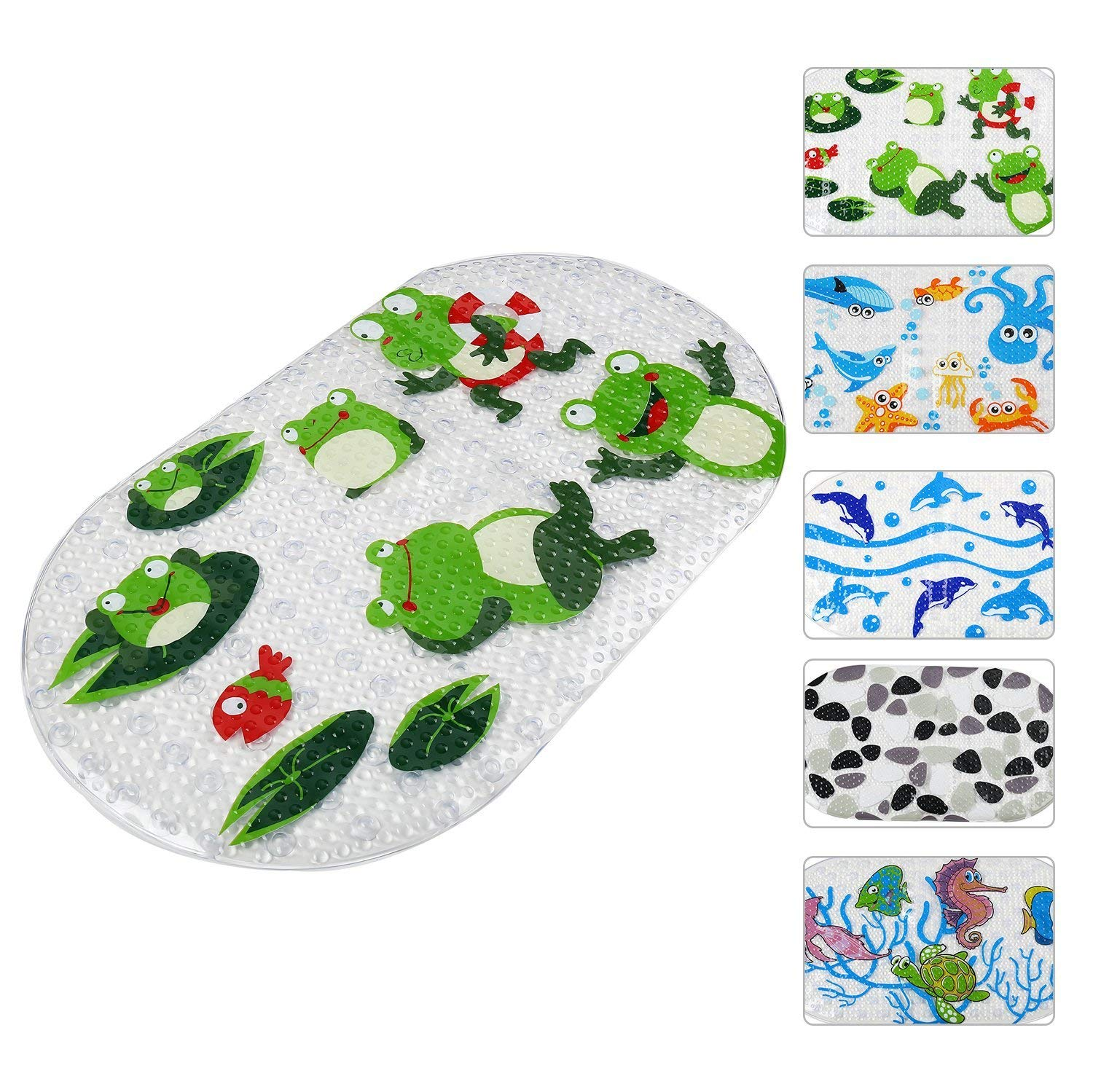 FUNK Bath Mat for Shower Non Slip Bath Mat for Kids Baby, Anti Bacterial Cute Cartoon Print Shower Mat,Phthalate Free,Latex and Machine Washable Oval Bathtub Mat-Kids Frog(27x15 Inch)
