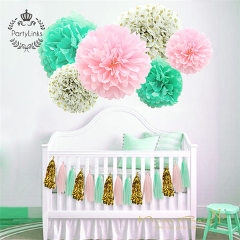 Indian Mint Green Paper Flowers Fresh Pink Gold Dot Tassel Garland Diy Gender Reveal Party Decoration Supplies