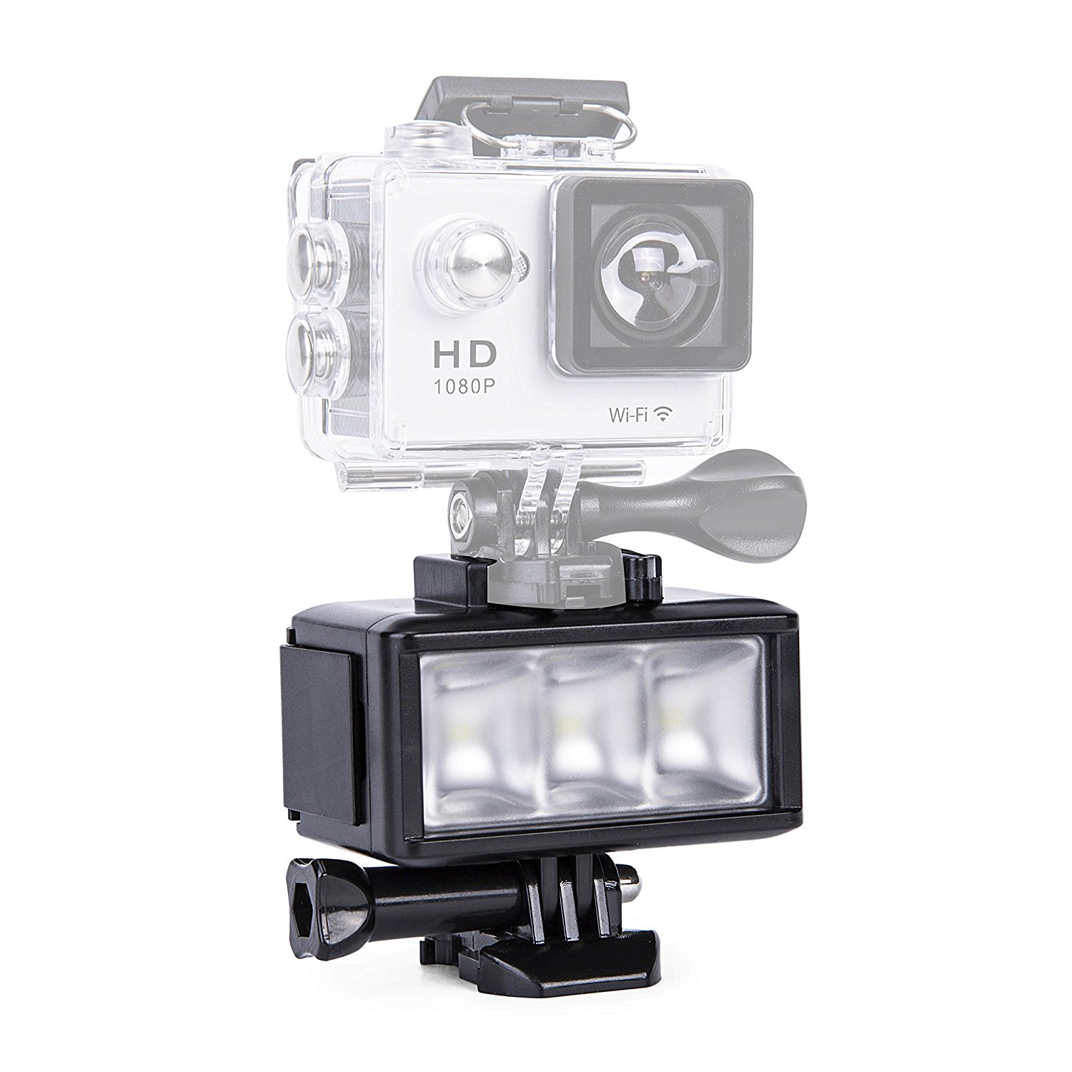 G-raphy Waterproof Underwater Diving LED Video Light High Power Dimmable for Gopro Hero 5 5S 4 4S 3+ 3 2 SJCAM SJ4000 SJ5000 Xiaomi Yi Sports Action Camera with 1000mAh Built-in Rechargeale Battery