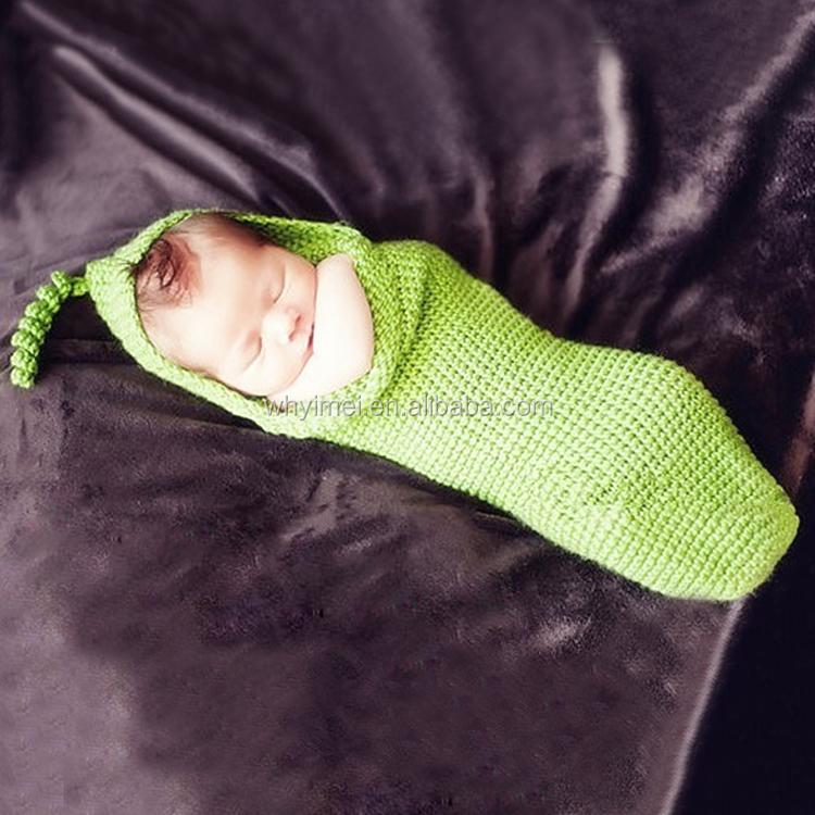 Merryia hecho a mano del ganchillo del bebé saco Green Bean pod ...