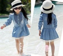 2016 Summer Hot-selling Baby Kids Girl 2-8Y Blue Denim Lace Long Sleeve Casual Dress Clothes