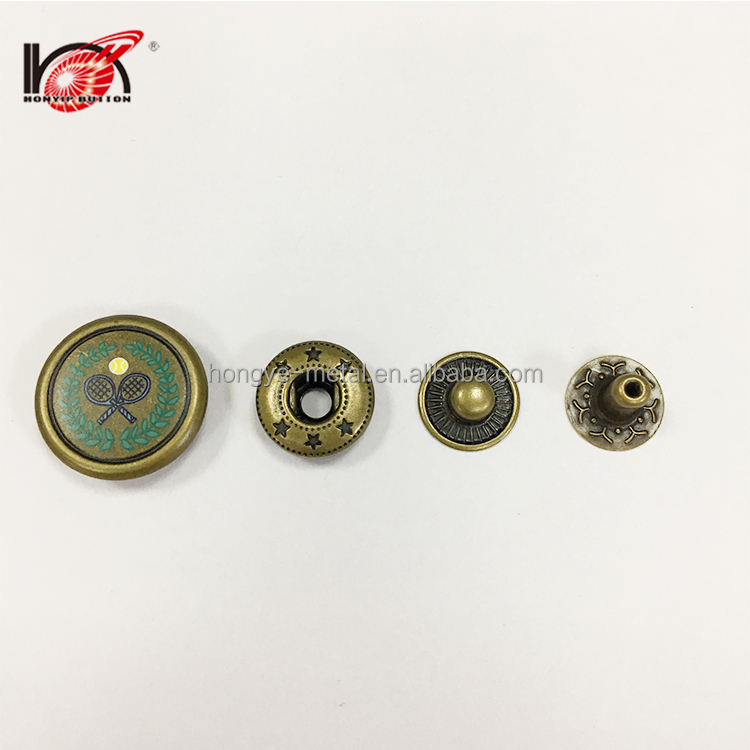 New Style Customized jeans brass metal spring double snap button