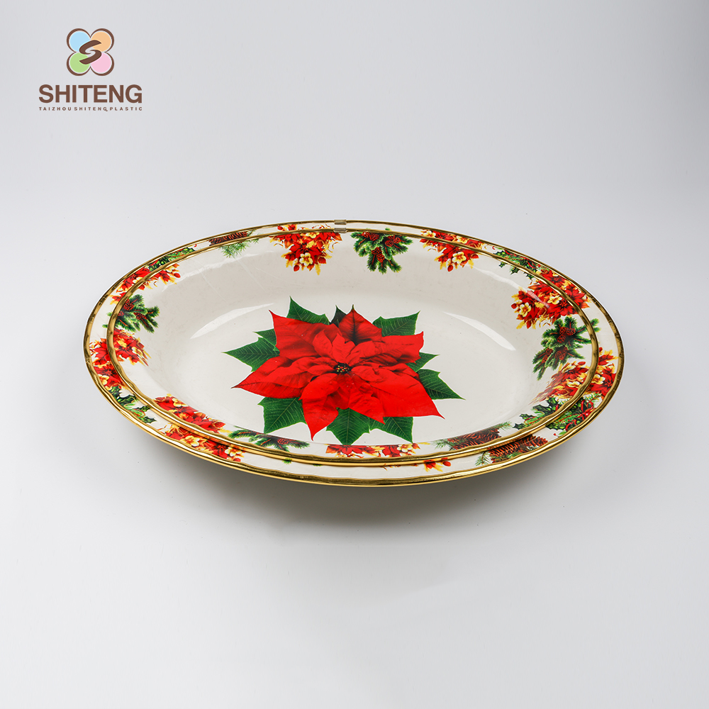Wholesale dinnerware rose gold rim plated serving tray