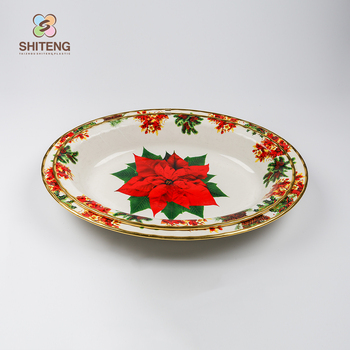 Whole Dinnerware Rose Gold Rim Plated Serving Tray