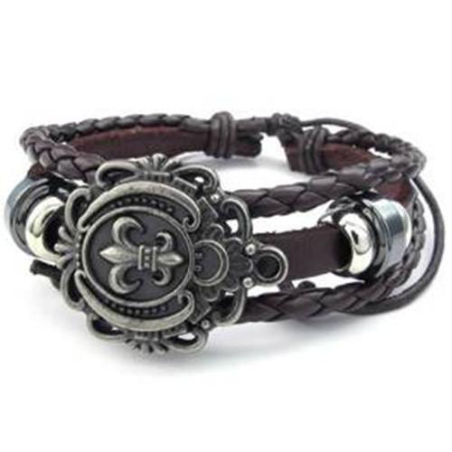 Fleur De Lis Charm Bracelet: Mens Womens Leather Bracelet, Fleur De Lis Charm Bangle-in