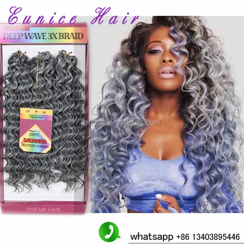 Grey Synthetic Hair Freetress Braids Crochet Interlocking Jerry Curl