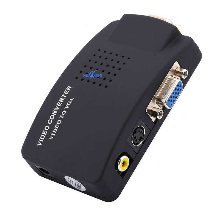 High Resolution Digital AV / S video to VGA TV Signal Converter Adapter S-video to VGA Switch Conversion for PC Notebook