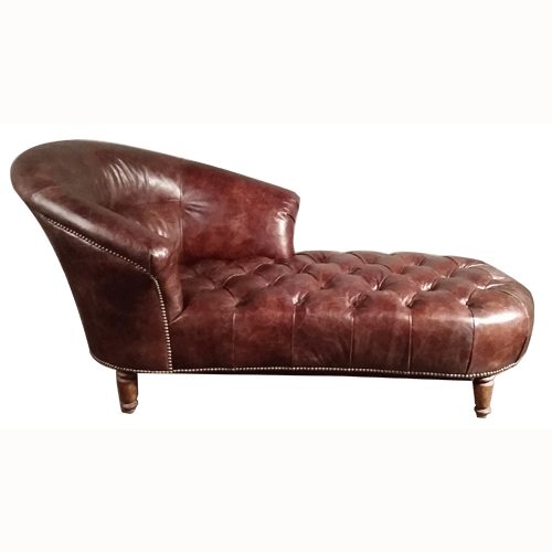 Antique Leather Chesterfield Long Chaise For Home