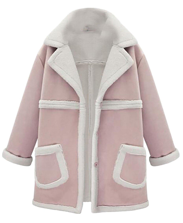 YUNY Women's Winter Classic Faux Suede Lamb Fleece Lined Wool Jacket Coat
