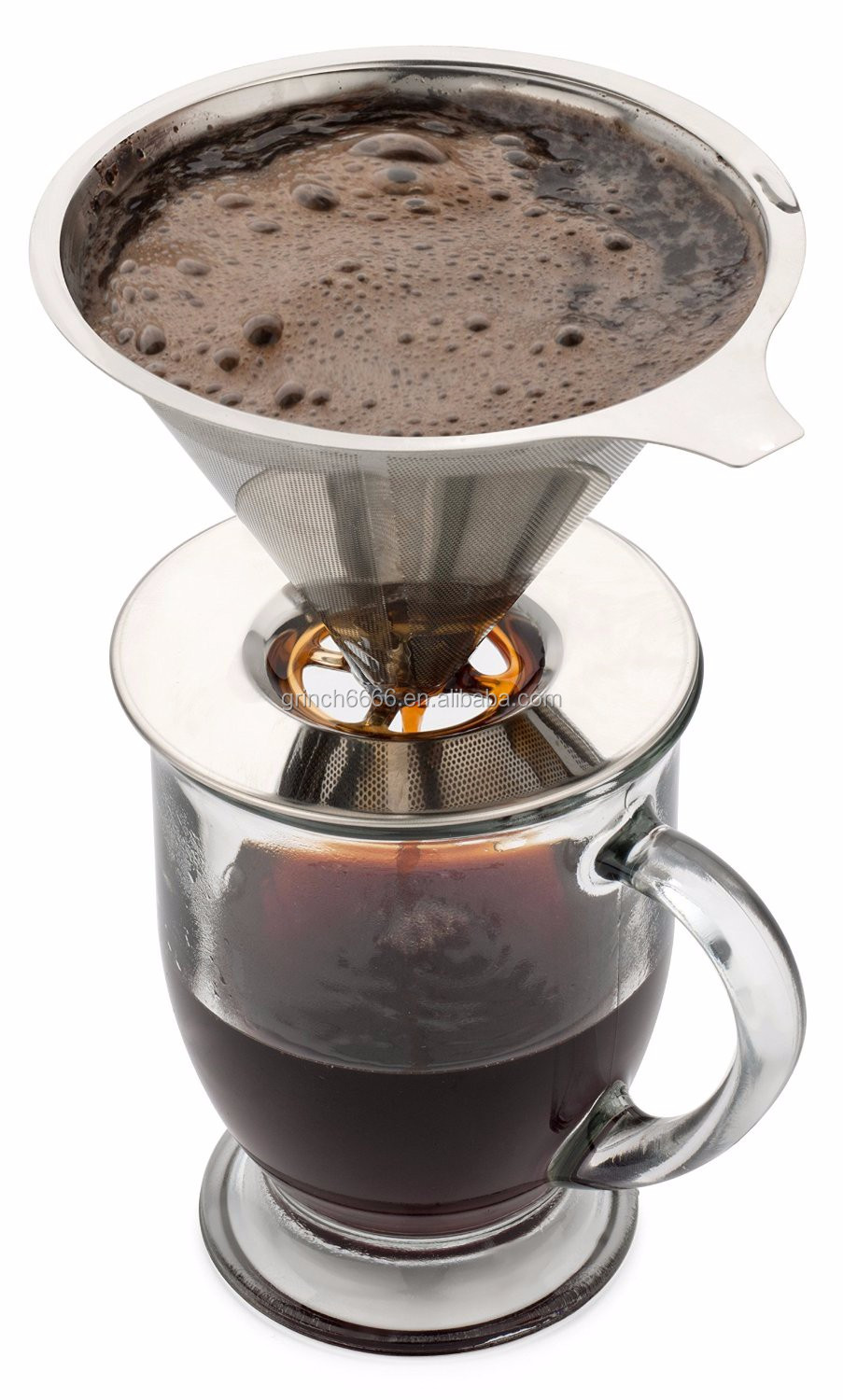 Paperless Pour Over Coffee Dripper Stainless Steel Reusable Filter And Single Cup Maker