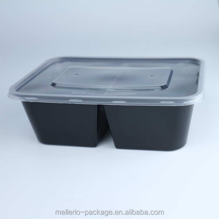 2 compartiment plastic wegwerp lunch box