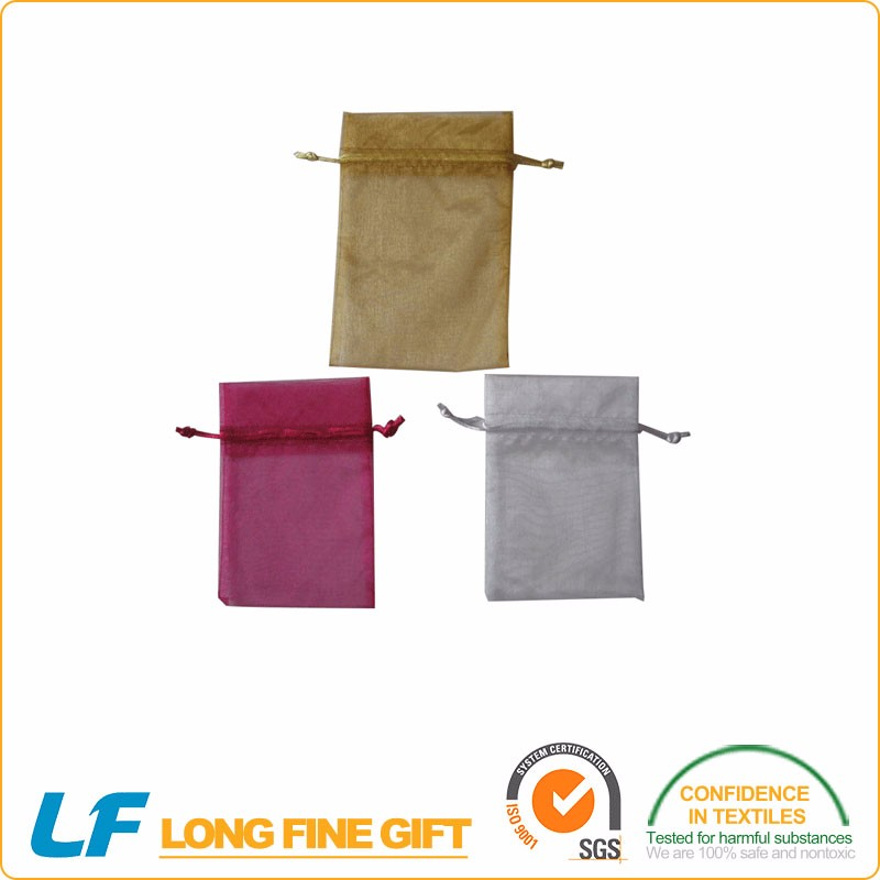 Convenient promotional small and portable cotton organza drawstring gift bag