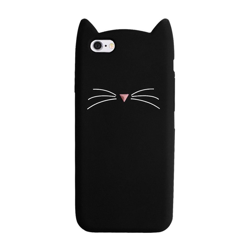 iPhone SE Case, MC Fashion Cute 3D Black MEOW Party Cat Kitty Whiskers Soft Silicone Case for iPhone 5/5S/SE (Cat Whiskers)