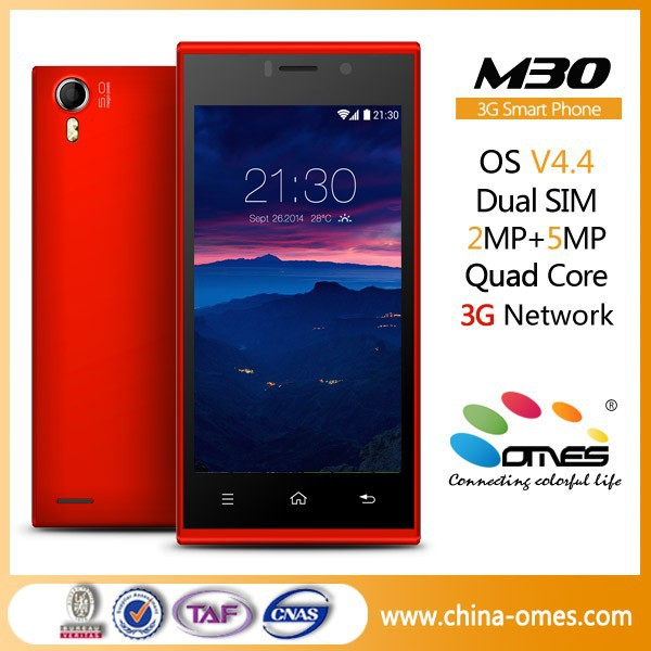 Ultra Slim Design ! OMES M30 4.5 inch IPS 1G+4G mtk6582 quad core 2MP+5MP Camera Android 4.4 China high quality mobile phone