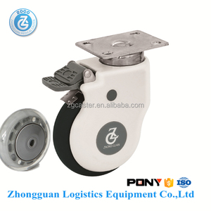 zogo 4924-82W 4 inch plate brake High duty luxury swivel caster wheel with good price Transparent Pu caster