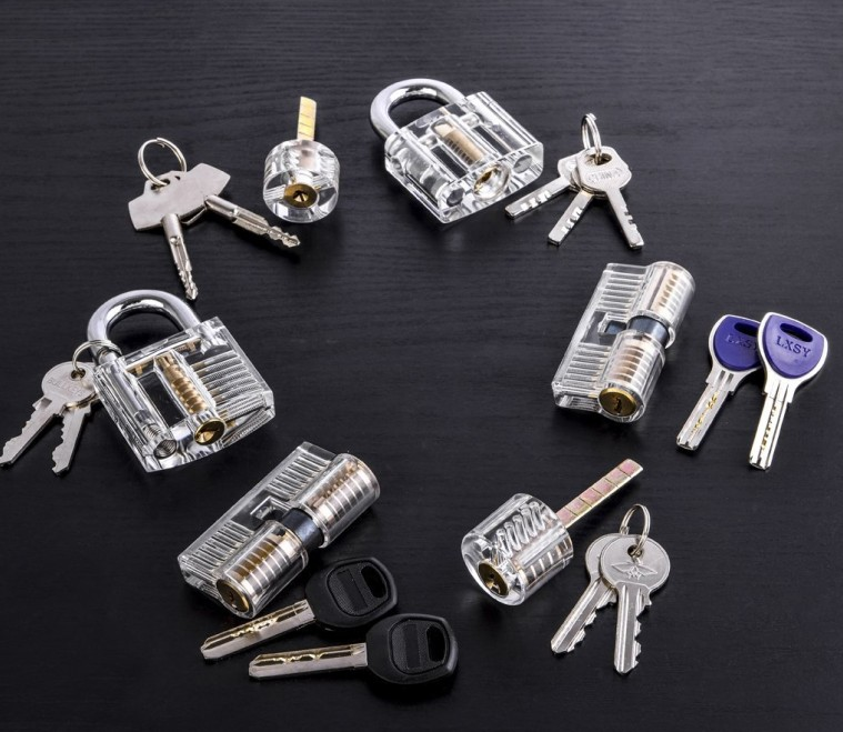 Mini Transparent Visible Pick Cutaway Practice Padlock Lock With Broken Key Removing Hooks Lock Extractor Set Locksmith Tool