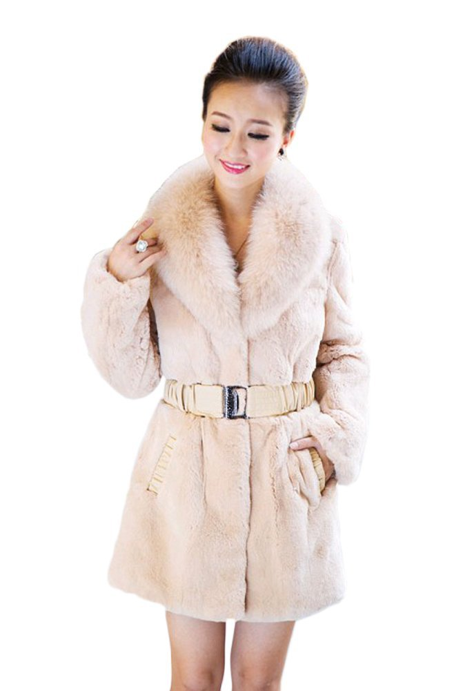 Queenshiny Long Women's 100% Real Rex Rabbit Fur Coat with Fox Collar
