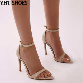 bc4558f8761a 2018 women nude sexy pointed open toe shoes ankle strap stiletto high heel  sandals