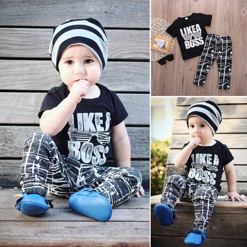 New Arrival Baby Boys Kids Summer Sets Short Sleeve T shirt Tops Pants 2pcs Children Sets