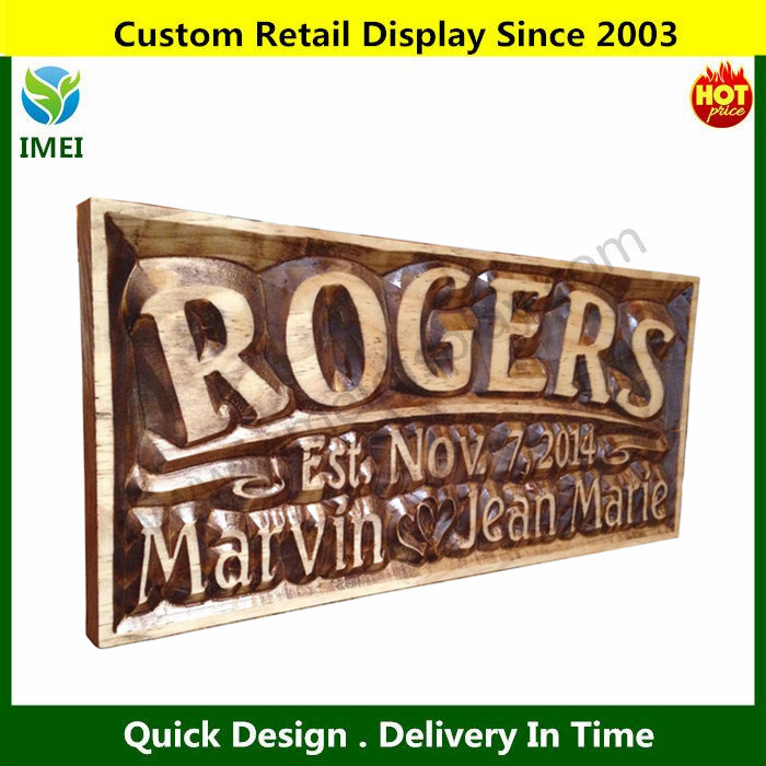 "carved wood signs/ hanging decoration on wall/ anniversary 7.25x16"" YM3-053"
