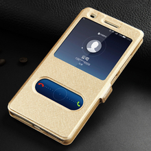Huawei Honor 7 Leather Case High Quality With Window View Protector Flip Cover Case For Huawei Honor 7 Phone + Free Shipping