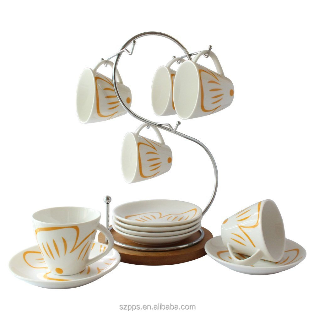 Tableware Fl Design Ceramic Coffee Mug Saucer Set Tea Espresso Cup With Stand Pack Of 6 Cups Saucers And