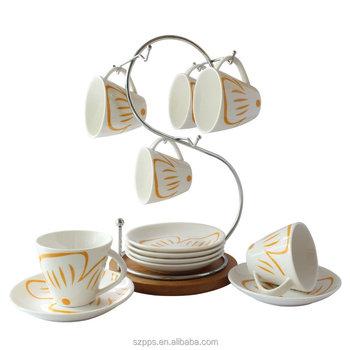 Tableware Fl Design Ceramic Coffee Mug Saucer Set Tea Espresso Cup With Stand Pack Of 6