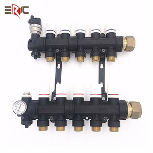 plastic household distribution collector central warm floor hvac system water underfloor heating manifold with flowmeter