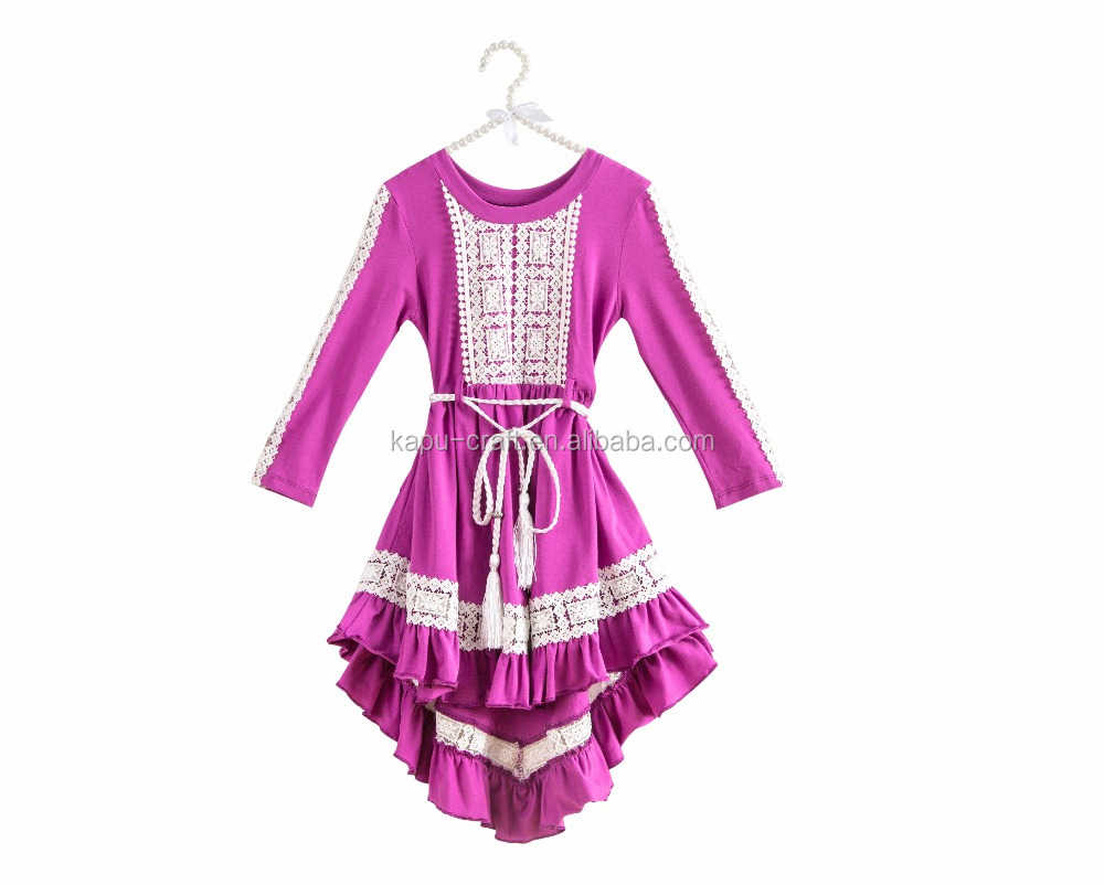 Plum sweet Indiana dress,boutique girls dresses winter high-low dresses