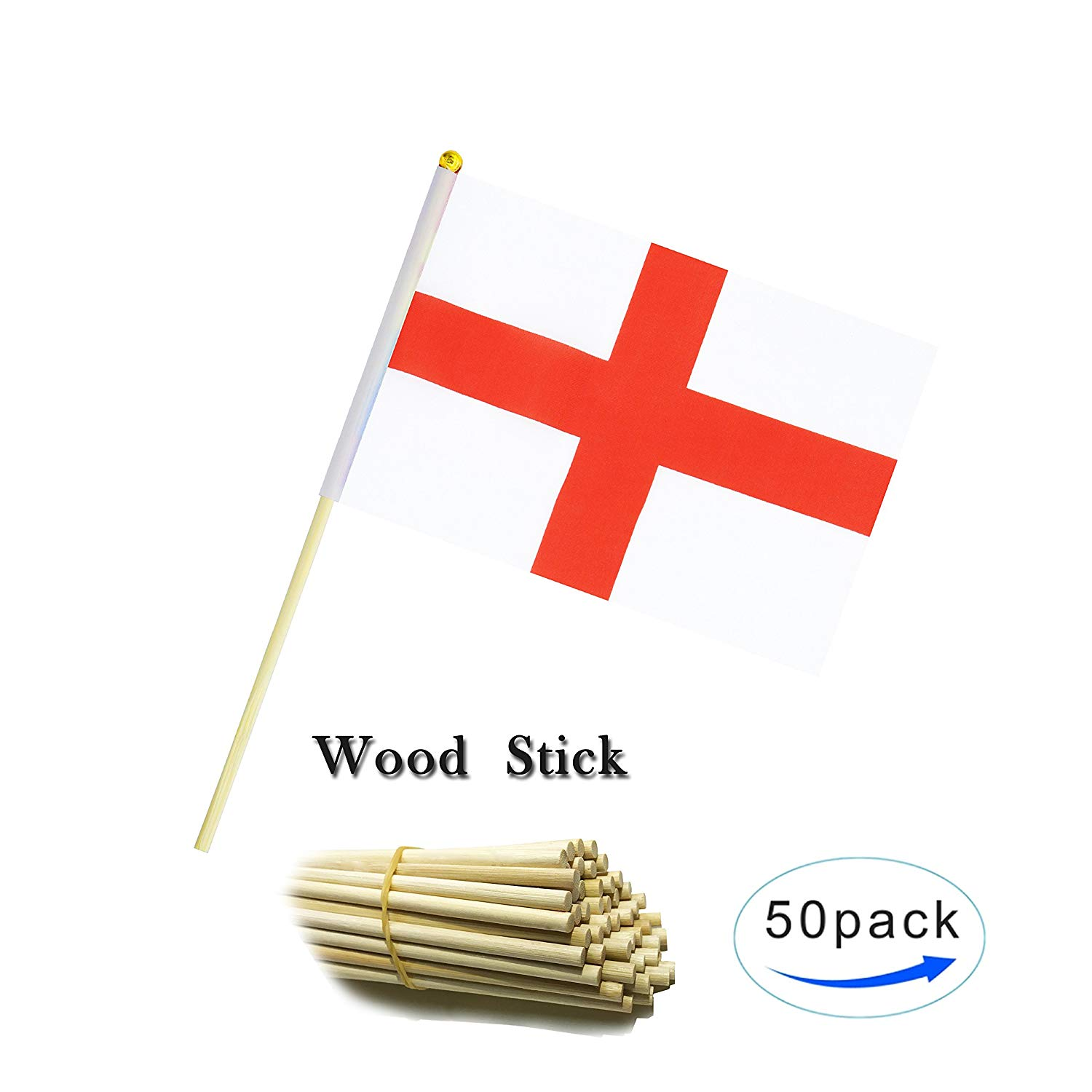 Wood Hand Held England Flag English people Flag Stick Flag Small Mini Flag 50 Pack Round Top National Country Flags,Party Decorations Supplies For Parades,World Cup,Sports Events, Celebration