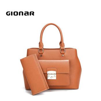 Custom Saffiano Two Pieces Set Purse Large Leather Handbags Por Tote Bags