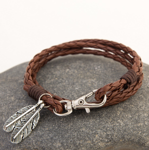 Europe and the United States trendy retro leather braided rope titanium steel jewelry men's processing stainless steel bracelet