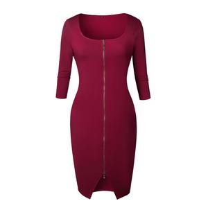 Women Sexy Club Low Cut Bodycon Dress Red Velvet 2018 Spring Winter Zipper Pack Hip Wear Party Dresses