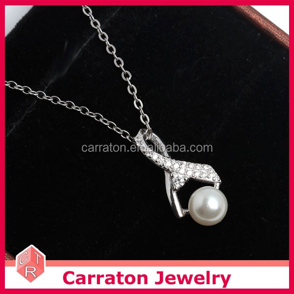 2017 latest ribbon freshwater pearl necklace 925 wholesale sterling silver pendant customized jewelry
