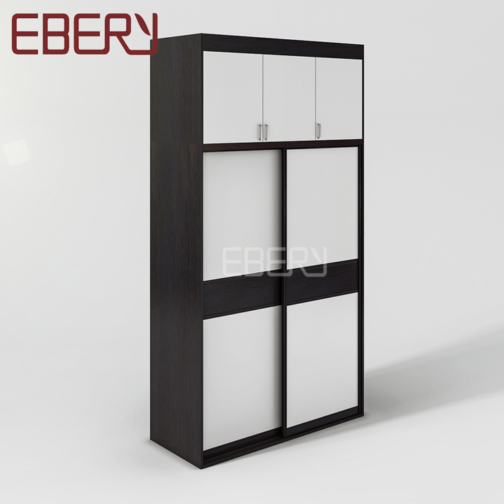 Top design wood furniture black and white 2 door room wardrobe