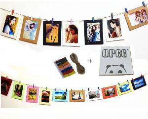 "OPCC Wall Deco DIY Paper Photo Frame with Mini Clothespins and Stickers - Fits 4""x 6"" Pictures,Multi-Color DIY Hanging Paper Photo Frames set of 10"